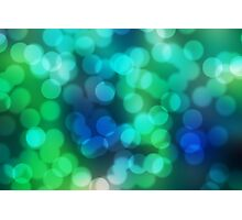 Blue and Green Bokeh Photographic Print