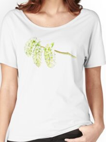 Green willow catkin watercolor painting Women's Relaxed Fit T-Shirt