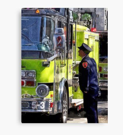 Firemen Talking Canvas Print