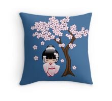 Japanese Bride Kokeshi Doll Throw Pillow