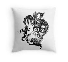 White Rabbit in Black Throw Pillow