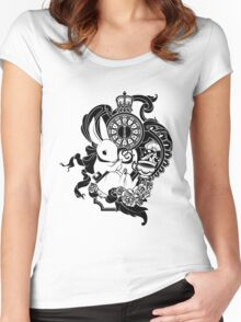 White Rabbit in Black Women's Fitted Scoop T-Shirt