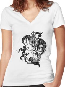 White Rabbit in Black Women's Fitted V-Neck T-Shirt
