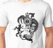 White Rabbit in Black Unisex T-Shirt