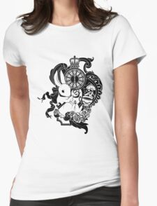 White Rabbit in Black Womens Fitted T-Shirt