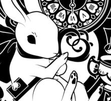 White Rabbit in Black Sticker