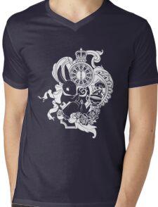 White Rabbit in White Mens V-Neck T-Shirt