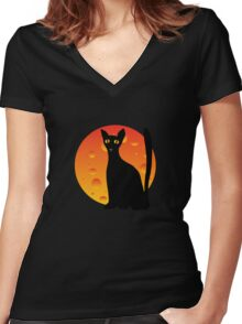 Black Cat & Moon Women's Fitted V-Neck T-Shirt