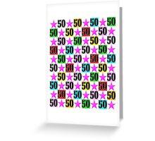 50TH PINK SUPER STAR DESIGN Greeting Card