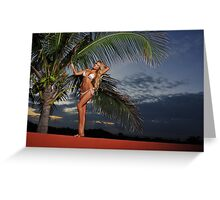 Model  poses at sunset with palm tree on background  Greeting Card