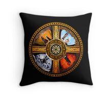 The Four Treasures Of Ireland Mandala by Marg Thomson Throw Pillow