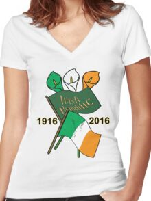 1916 Irish Centenary 2016  Women's Fitted V-Neck T-Shirt