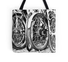 Bike Tires - Black and White Photograph Tote Bag