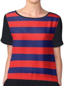 Blue & Red Navy Magic Stripes Summer Design Set Chiffon Top