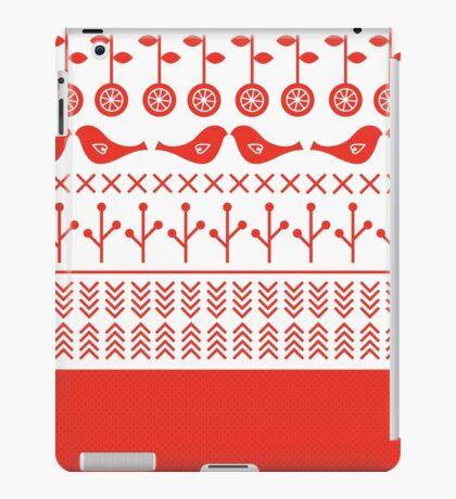 Beautiful retro Illustration with Folk motives ( red ) iPad Case/Skin