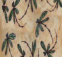 Dragonfly Flit Rustic Cream by lyndseyart