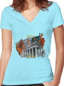 Dublin GPO 1916-2016 Women's Fitted V-Neck T-Shirt