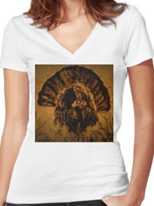 Turkey in the Straw DPPA150606 Women's Fitted V-Neck T-Shirt