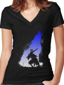 The walker of abyss VERSION WHITE/BLU Women's Fitted V-Neck T-Shirt