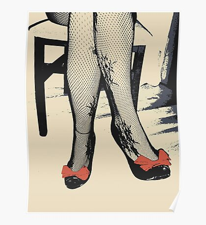 Black Heels with Red Ribbon, Fishnet Bodystocking Girl Poster