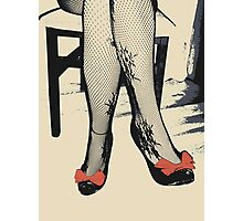 Black Heels with Red Ribbon, Fishnet Bodystocking Girl Photographic Print