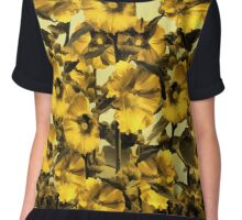 Happy Yellow HollyHock Design Chiffon Top