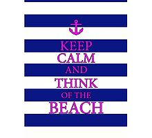 KEEP CALM AND THINK OF THE BEACH - Navy/Pink by IntWanderer