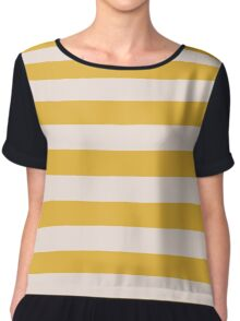 Yellow and Natural Gold Stripes Collection Chiffon Top