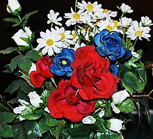 Red, White, & Blue Roses 2 by MidnightRain