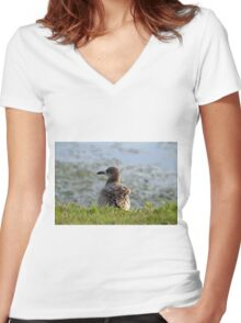 Sitting By The Water Women's Fitted V-Neck T-Shirt