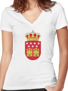 Coat of Arms of the Community of Madrid Women's Fitted V-Neck T-Shirt