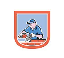 Bricklayer Mason Plasterer Worker Cartoon Photographic Print