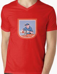 Bricklayer Mason Plasterer Worker Cartoon Mens V-Neck T-Shirt