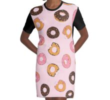 Assorted Donuts Pink Graphic T-Shirt Dress
