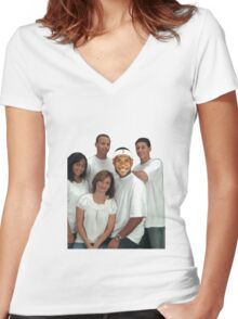Lebron and Steph Family Portrait Women's Fitted V-Neck T-Shirt