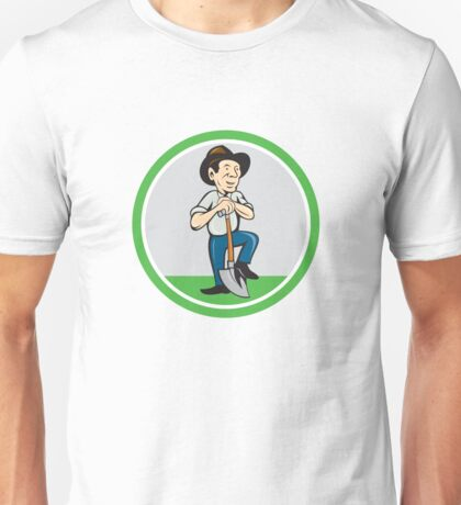 Farmer Shovel Standing Cartoon Unisex T-Shirt