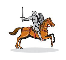 Knight Riding Horse Cartoon by patrimonio