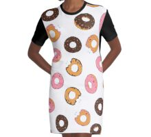 Assorted Donuts White Graphic T-Shirt Dress