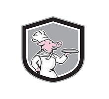 Pig Chef Cook Holding Dish Cartoon by patrimonio