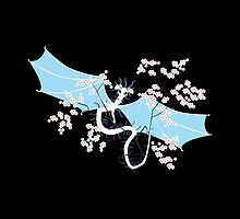 Cherry Tree Dragon - White and Blue by LastLittleBird