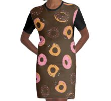 Assorted Donuts Brown Graphic T-Shirt Dress