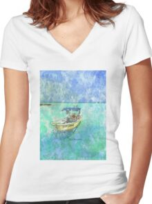Dive Boat at Mia Reef, Isla Mujeres Women's Fitted V-Neck T-Shirt