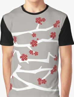 Chinese 'Ai' Love Red Sakura Cherry Blossoms White Branches Graphic T-Shirt