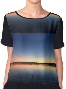 ohio sunset on a lake Chiffon Top