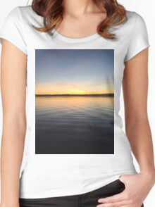 ohio sunset on a lake Women's Fitted Scoop T-Shirt