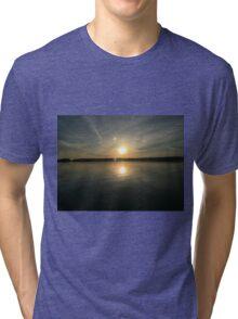 ohio sunset on a lake Tri-blend T-Shirt