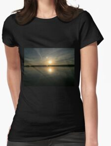 ohio sunset on a lake Womens Fitted T-Shirt