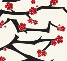 Chinese 'Ai' Love Red Sakura Cherry Blossoms With Black Branches Sticker