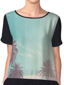 Teal Palm Fade Chiffon Top