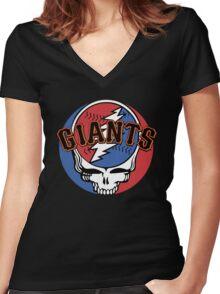 Grateful Dead SF Giants Women's Fitted V-Neck T-Shirt